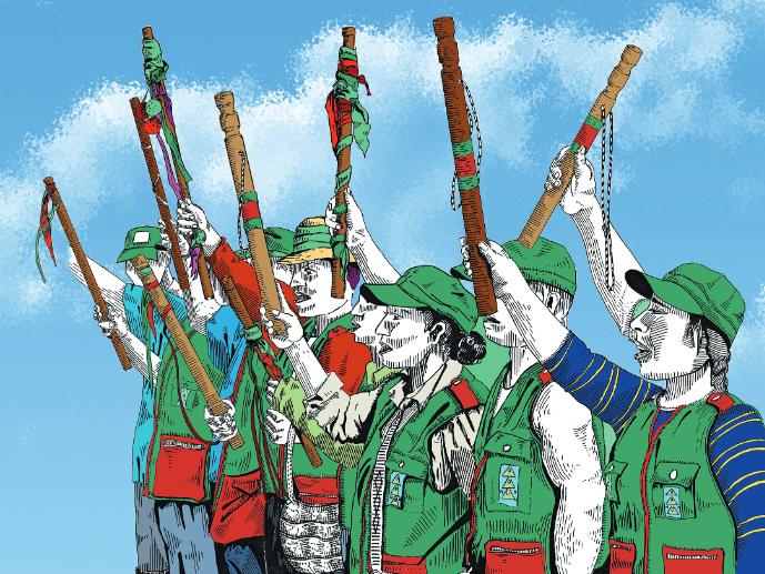 Indigener Widerstand gegen die Gewalt im Cauca (Grafik: Andrea Mora)