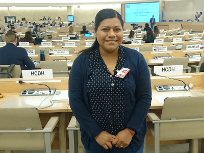 Maricela Vázquez beim UNO-Menschenrechtsrat.