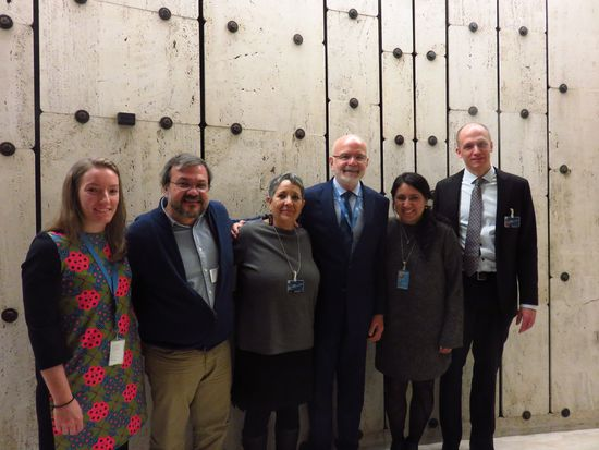The UN Special Rapporteur on the situation of human rights defenders, Michel Forst, with Isela González (ASMAC) and representatives of the CMDPDH, the Open Society Justice Initiative, the Fray Juan de Larios Diocesan Center for Human Rights and PBI. @PBI