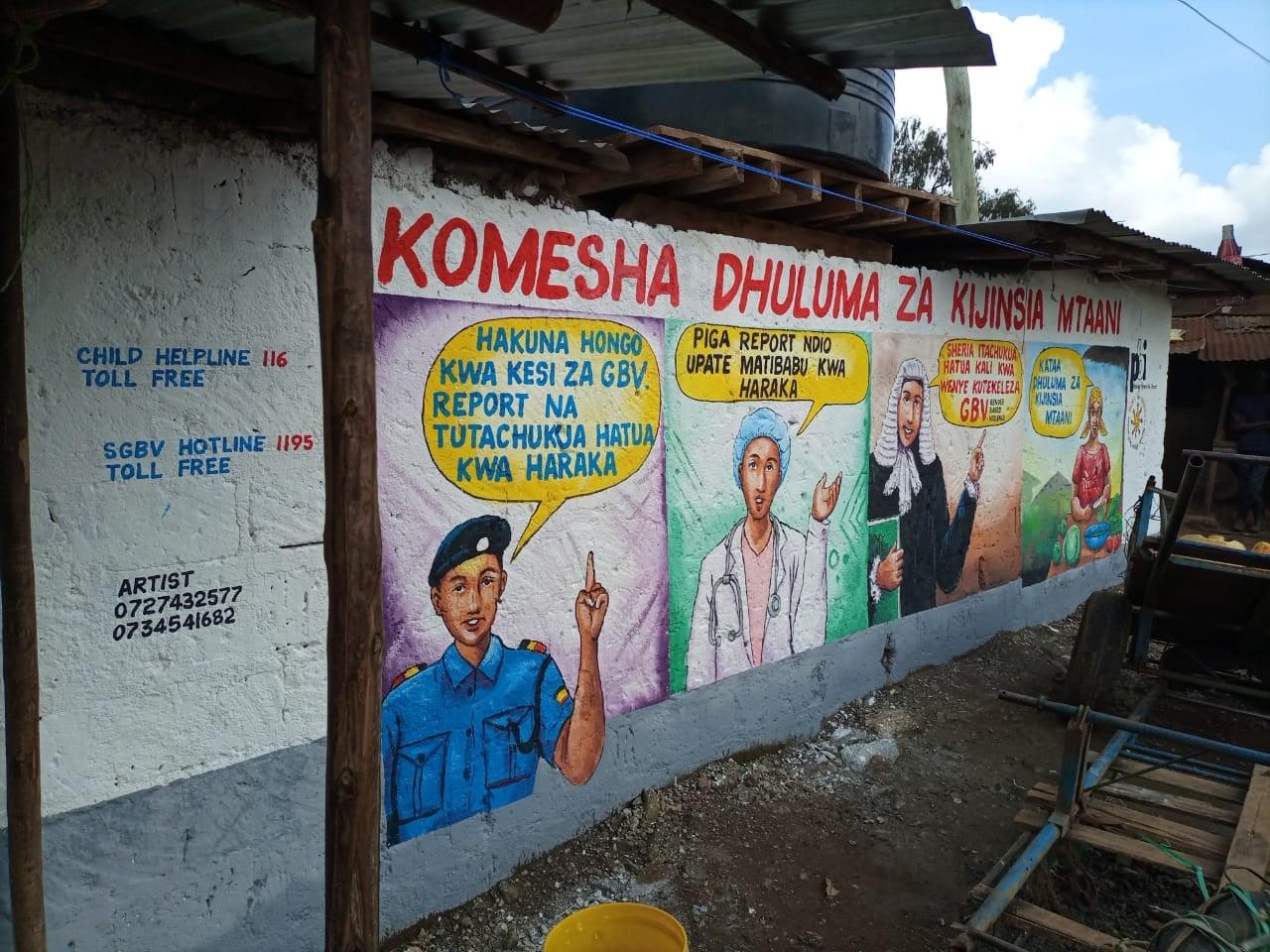 Wandbilder zum Thema sexuelle und geschlechtsspezifische Gewalt