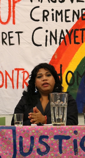 Transaktivistin und Koordinatorin der Trans* Frauengruppe Muñecas de Arcoíris, Frenessys Sahory Reyes in Hamburg_2
