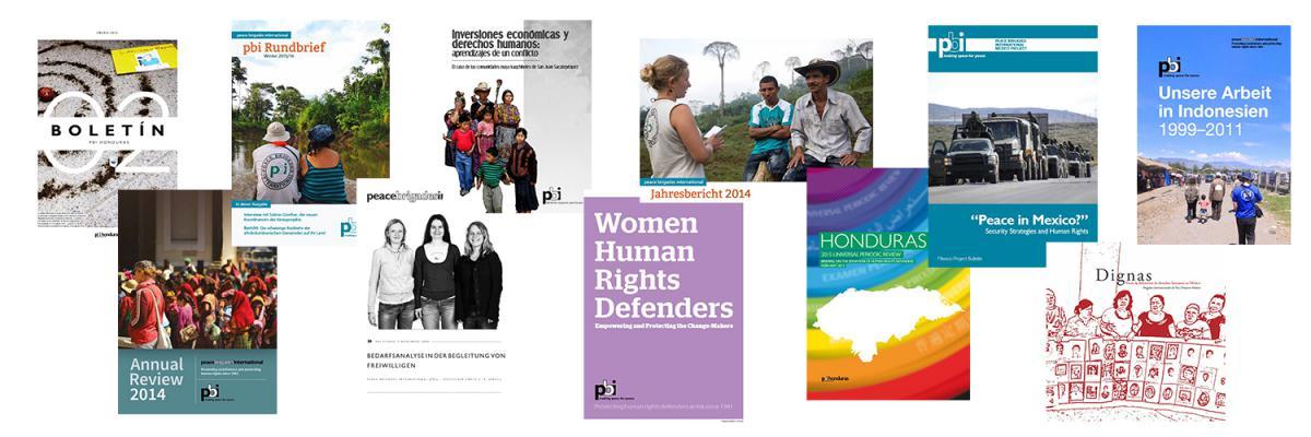 Publikationen der Menschenrechtsorganisation peace brigades international (pbi)